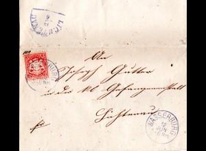 Bayern, 3 Kr. auf Brief m. klarem blauem K1 WASSERBURG