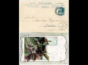 Liechtenstein 1901, 5 H. Österreich m. K1 SCHAAN auf LItho-AK m. Glitzerblumen