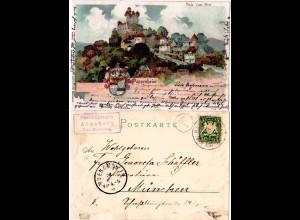 Bayern 1901, Posthilfstelle ARNSBERG Taxe Kipfenberg auf Pappenheim AK m. 5 Pf.