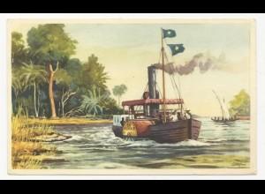 """Belgien Congo, """"mit d. AVANT auf dem Stanley See"""", Farb Sammelbild. #2848"""