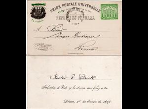Peru 1898. 1/5 C. Überdruck Ganzsache m. Neujahrs-Zudruck, innerortsgebr. LIMA.