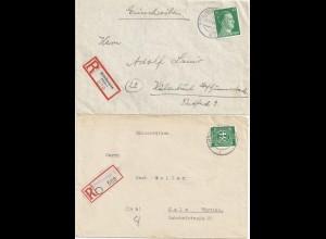 Mühlhausen Thür., 2 Einschreiben Brief, 1x eingestempelter Not Reko Zettel #2178