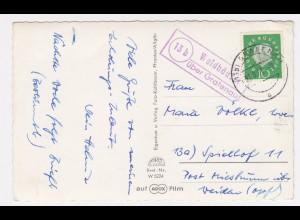 1961, Landpoststempel Waldhäuser über Grafenau klar auf AK. #2138