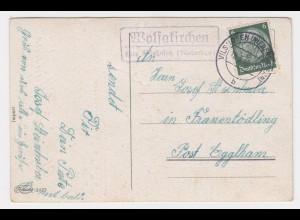 1959, Landpoststempel Wolfakirchen über Vilshofen auf AK n. Franentödling. #2168