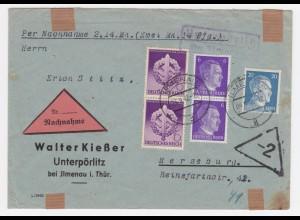 DR 1942, Landpoststempel Unterpörlitz über Ilmenau auf Nachnahme Brief. #322
