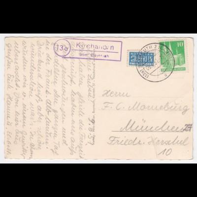 1951, Landpoststempel Kirchahorn über Bayreuth auf AK m. Notopfer Berlin. #1235