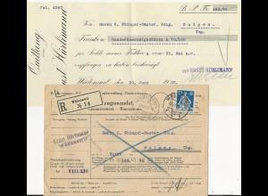 Schweiz 1922, 40 C. auf Einzugsmandat Brief m. Inhalt v. Wädenswil. #473