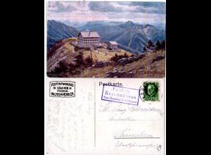 Bayern 1916, Posthilfstelle ROTWANDHAUS Taxe Neuhaus b. Schlierseeauf AK m. 5 Pf