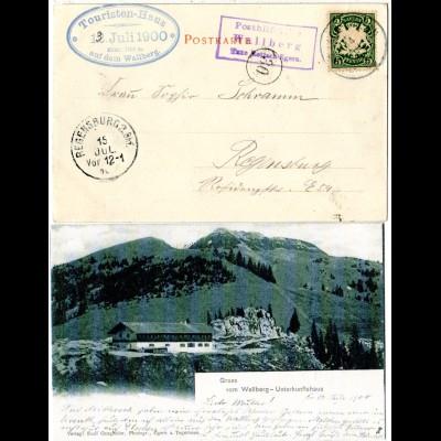 Bayern 1900, Posthilfstelle WALLBERG Taxe Rottach-Egern auf AK m. 5 Pf