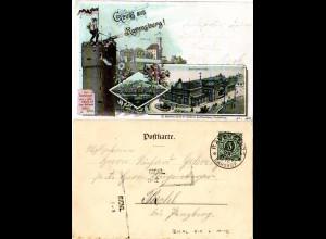 Bayern 1898, L2 Aushilfstempel BICHL, Ank.Stpl. auf Litho-AK v. Ravensburg