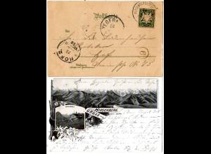 Bayern 1898, Postablage-K1 HIRSCHBERG b. TEGERNSEE auf AK m. 5 Pf. (Sem 175.-)