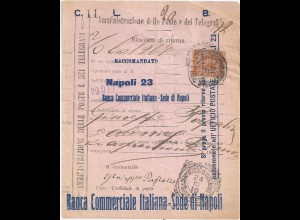 Italien 1910, 20 C. m Firmenlochung perfins B.C.I. auf Rückschein Formular #2175