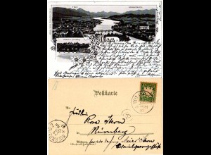 Bayern 1897, Postablage-K1 TOELZ-KRANKENHEIL auf Litho-AK m. 5 Pf. (Helbig 150).