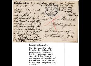 Bayern 1915, Reservestempel KIEFERSFELDEN R auf Feldpostkarte. (Helbig 100).