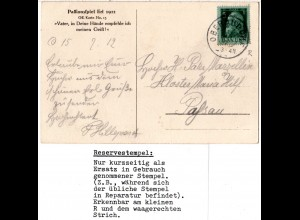 Bayern 1912, Reservestempel OBERAUDORF R auf AK m. 5 Pf. (Helbig 60).