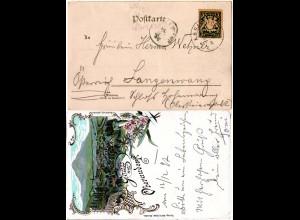 Bayern 1897, Stations-L1 OBERAUDORF auf Litho AK m. Bahnpost Kufstein-München