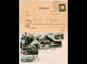 Bayern 1894, Postablage-K1 WENDELSTEINHAUS auf Litho-AK m. 5 Pf. (Sem 175.-)