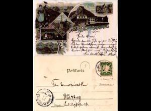 Bayern 1897, Postablage-K1 WENDELSTEINHAUS auf Litho-AK m. 5 Pf. (Sem 175.-)