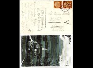 DR 1932, alter Bayern-R3 Posthilfstelle Lauterbach auf sw-AK m. 2x3 Pf.