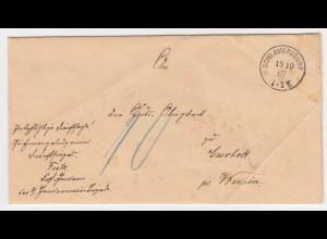 Schleswig Holstein 1887, Porto Dienst Brief v. SCHLAMERSDORF nach Garbek. #2218
