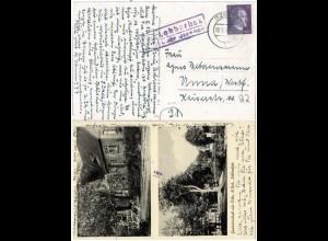 DR 1945, Landpost Stpl. LOHBARBEK über Itzehoe auf Gasthaus sw-AK m. 6 Pf.