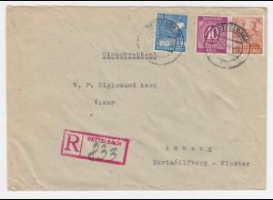 1948, Dettelbach Einschreiben Stempel auf attraktivem Brief n. Amberg. #2192