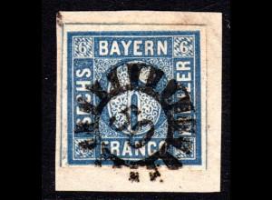 Bayern, MR 50 BLIESKASTEL auf Briefstück m. breitrandiger 6 Kr.