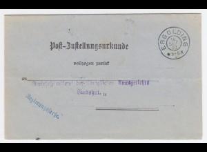 Bayern 1903, K2 Ergolding klar auf Zustellungsurkunde n. Landshut. #2198