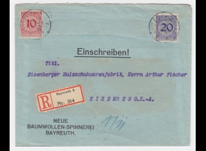 DR 1925, Bayreuth, portorichtiger Firmen Einschreiben Brief n. Eisenberg. #2196