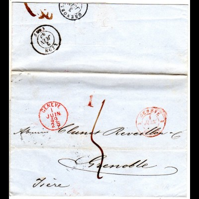 Schweiz 1849, roter K1 GENEVE klar auf Porto Brief n. Frankreich