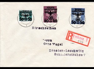 Generalgouvernement 1940, 50+40+50 Gr. auf Einschreiben Brief v. Krakau 1