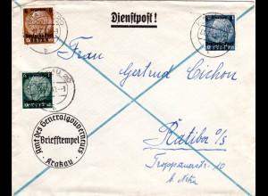 Generalgouvernement 1940, 3 Marken auf Dienstpost Brief v. Krakau 20