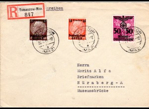 Generalgouvernement 1940, 16+20+50 Gr. auf Einschreiben Brief v. Tomaszow-Maz.
