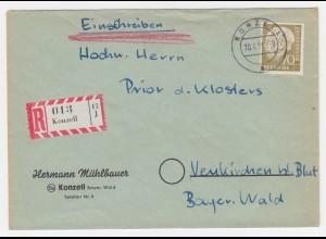 1956, Konzell Einschreiben, portorichtiger Brief n. Neukirchen Hl. Blut. #2194