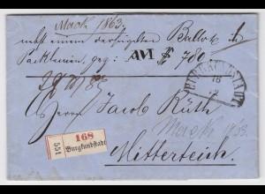 Bayern 1863, HKS Burgkundstadt auf Begleit Brief n. Mitterteich. Inhalt! #2220