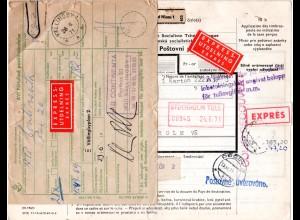 Tschechoslowakei 1971, Express Paketkarte v. Jablonec m. Schweden Postformular.