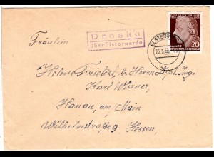 DDR 1955, Landpost Stpl. DRESKA über Elsterwerda auf Brief m. 20 Pf.