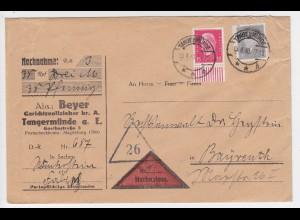 DR 1930, TANGERMÜNDE, Nachnahme Brief m. 15+20 Pf. n. Bayreuth. #2234