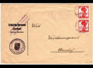 DR 1935, Landpost Stpl. SEEDORF über Oberndorf auf Brief m. 2x12 Pf. Trachten.