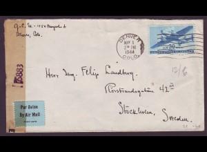 USA 1944, WW II Luftpost Zensur Brief v. Denver ins neutrale Schweden. #998