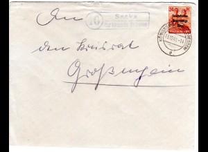 SBZ 1948, Landpost Stpl. 10 SACKA über Königsbrück auf Brief m. 24 Pf.