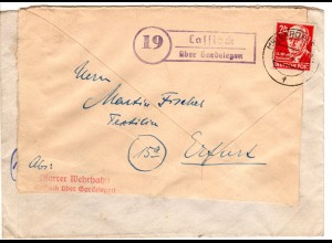 SBZ 1949, Landpost Stpl. 19 CASSIEK über Gardelegen auf Brief m. 24 Pf.