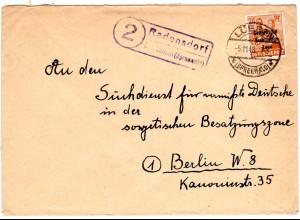 SBZ 1948, Landpost Stpl. 2 RADENSDORF über Lübben auf Brief m. 24 Pf.