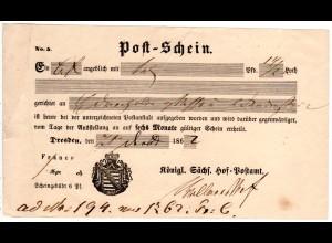 Sachsen 1862, Postschein f. einen Wertbrief v. Dresden.