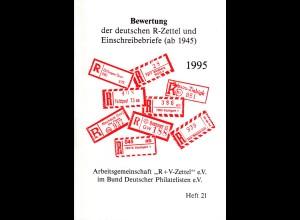 ARGE R+V-Zettel, Bewertung der dt. R-Zettel u. Einschreibebriefe (ab 1945)