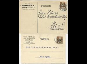 DR 1921, 2 Firmen Vordruckkarten v. Selb, je m. 40 Pf. n. Hof. #1236
