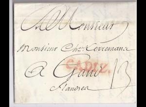 Spanien Belgien 1789, Porto Brief m. kpl. Inhalt v. L1 Cadiz (rot)n. Gand. #339