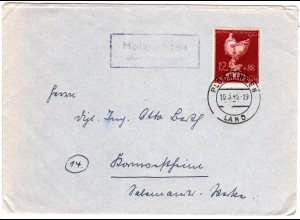 DR 1945, Landpost Stpl. HOLZMADEN über Plochingen auf spätem Brief m 12+88 Pf.