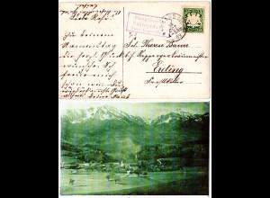 Bayern 1909, Posthilfstelle VACHENDORF Taxe Bergen, auf sw-Foto AK m. 5 Pf.
