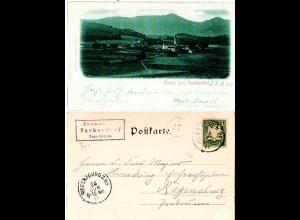 Bayern 1900, Posthilfstelle VACHENDORF Taxe Bergen (Typ 1), auf sw-AK m. 5 Pf.